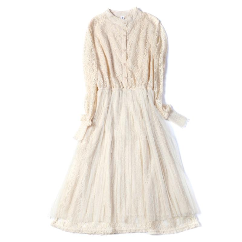 蕾丝连衣裙新款 2020春季新款蕾丝连衣裙收腰网纱打底裙中长款_推荐淘宝好看的蕾丝连衣裙新款