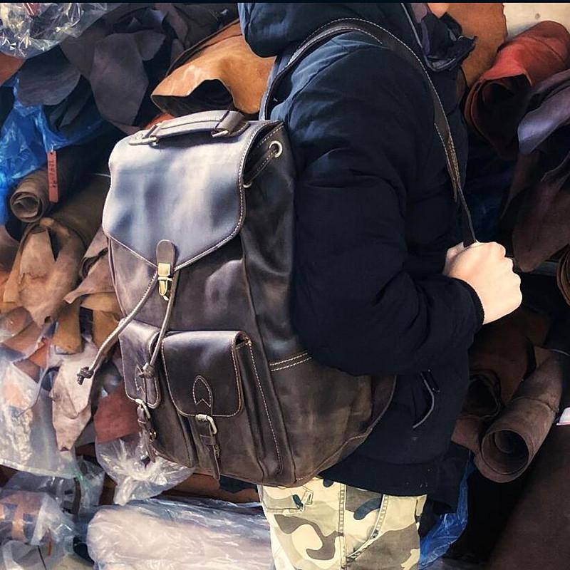 英伦复古包 复古新款纯色男士双肩包疯马皮男女旅行包背包头层牛皮个性英伦_推荐淘宝好看的女英伦复古包