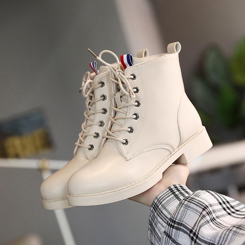 英伦短靴 P18马丁靴英伦风鞋子女学生韩版百搭高帮鞋女早秋短靴新款靴子_推荐淘宝好看的女英伦短靴