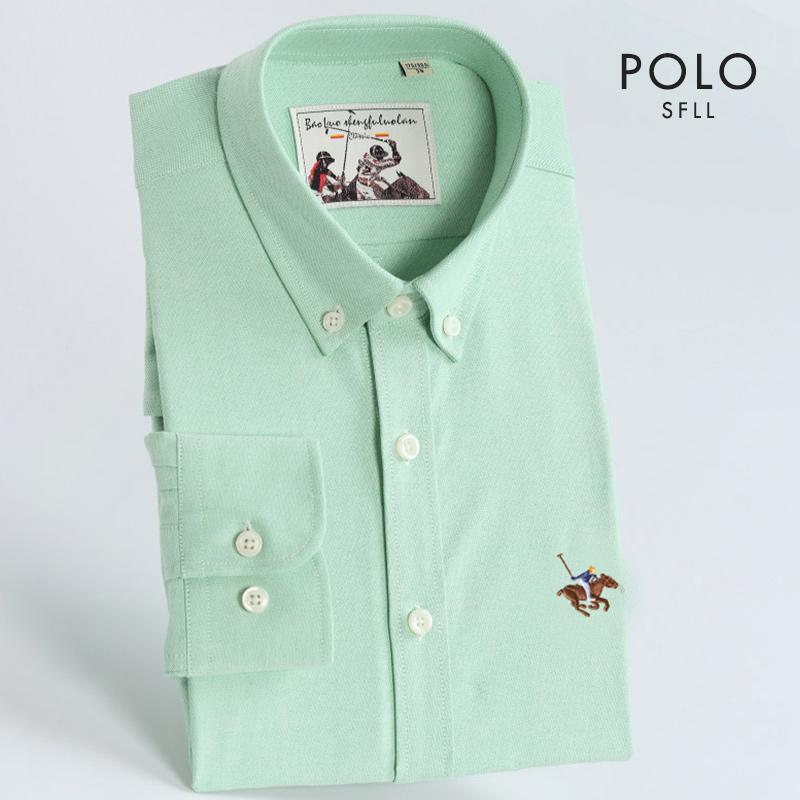 男士衬衫 保罗秋季浅绿色纯棉牛津纺衬衫男士长袖薄荷绿商务休闲修身寸衬衣_推荐淘宝好看的男衬衫