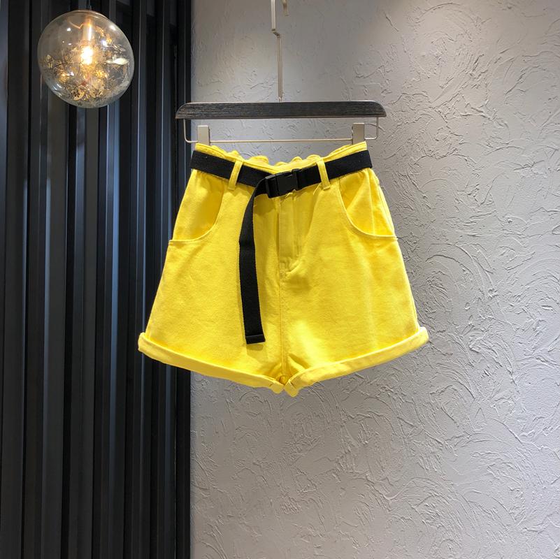 黄色牛仔裤 亮黄色牛仔短裤女2021夏季新款时尚花苞高腰直筒宽松显瘦阔腿裤潮_推荐淘宝好看的黄色牛仔裤