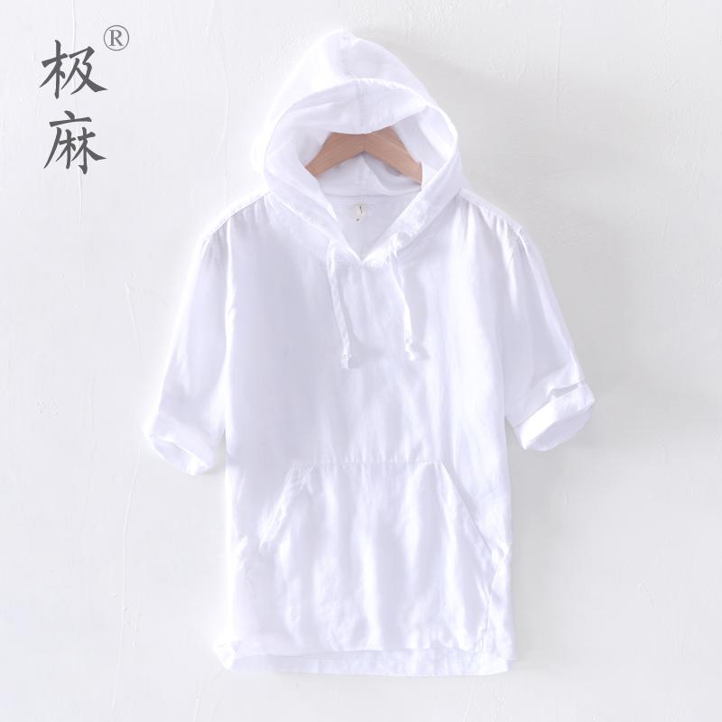 白色卫衣 日系清新亚麻短袖卫衣男士休闲连帽白色简约宽松棉麻套头半袖外套_推荐淘宝好看的白色卫衣