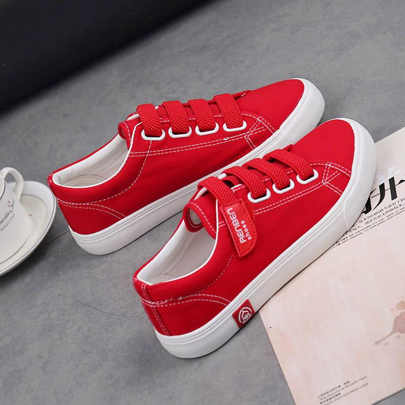 红色帆布鞋 人本红色帆布鞋女魔术贴红鞋夏季板鞋百搭休闲小白鞋官方旗舰店鞋_推荐淘宝好看的红色帆布鞋