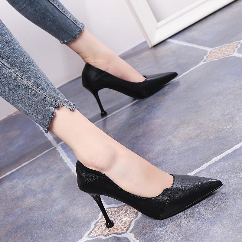 黑色单鞋 黑色软皮不磨脚高跟鞋女细跟2021春季新款尖头单鞋两穿百搭工作鞋_推荐淘宝好看的黑色单鞋