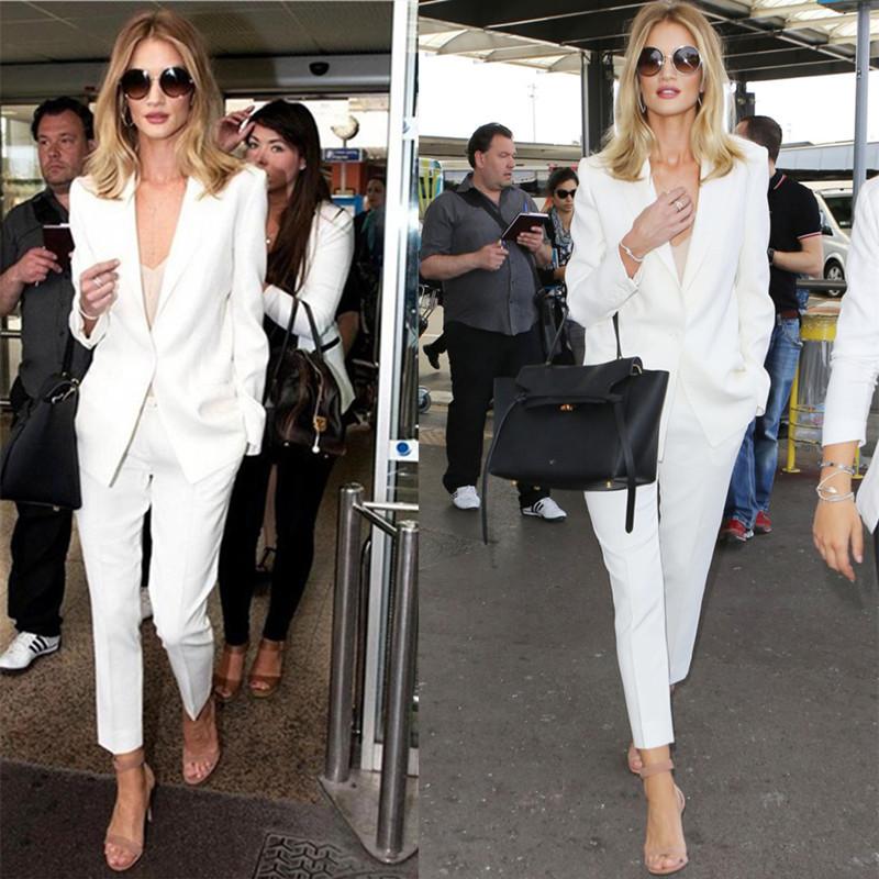 白色小西装 春秋新款气质白色小西装九分裤西装套装英伦风欧美时尚休闲西服女_推荐淘宝好看的白色小西装