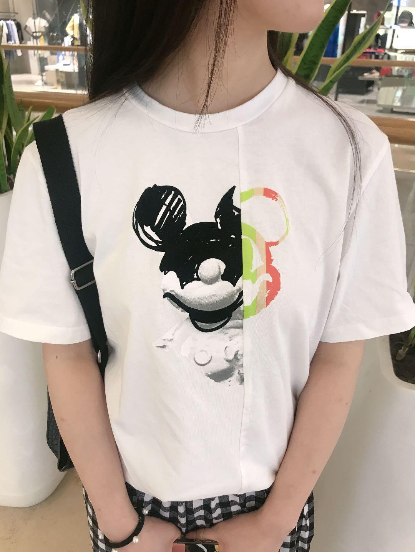 江南布衣品牌折扣店 2020年夏季折扣新品同款米老鼠印花T恤女 5J3610161_推荐淘宝好看的江南布衣折扣
