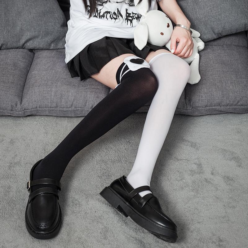 制服丝袜 过膝丝袜绑带中二病大长腿袜网红白色jk制服袜子日系可爱萝莉高筒_推荐淘宝好看的制服丝袜