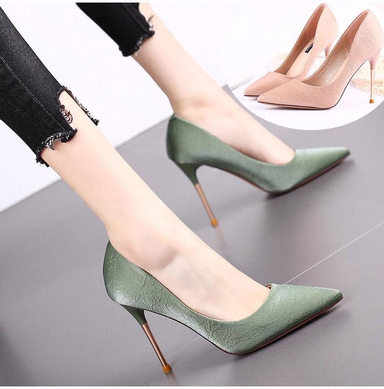绿色尖头鞋 黑色高跟鞋细跟法式女网红粉色尖头鞋女鞋2020秋简约绿色单根女鞋_推荐淘宝好看的绿色尖头鞋
