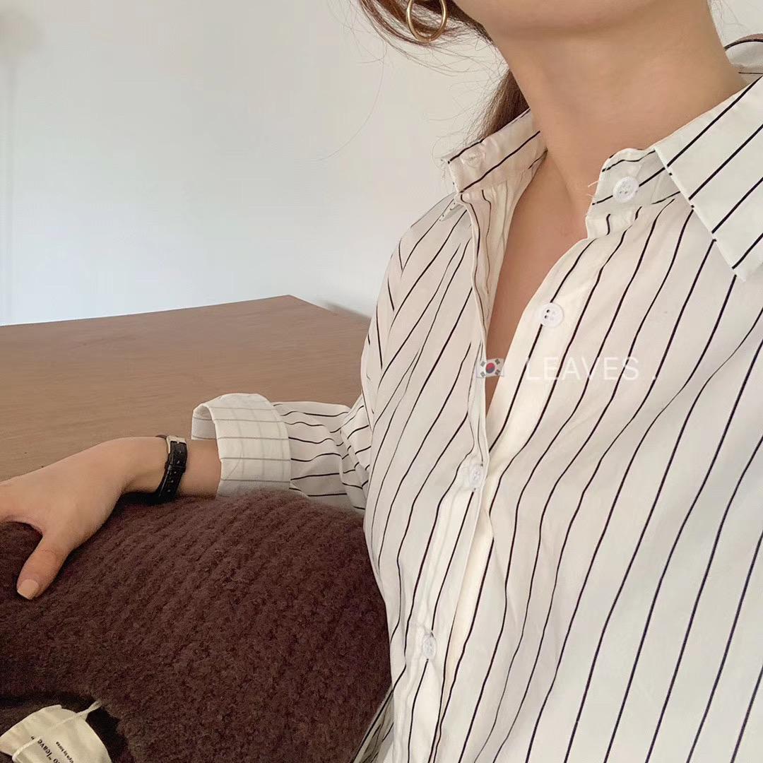 黑白竖条纹衬衫女 百搭基础款经典竖条纹长袖衬衫女韩国定制黑白条ins打底衫_推荐淘宝好看的黑白竖条纹衬衫女