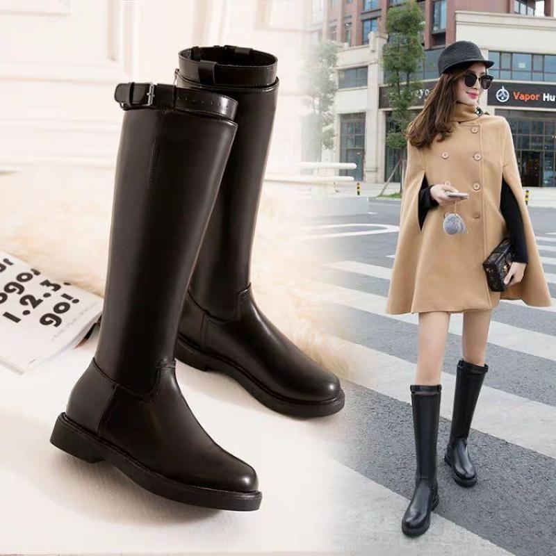 靴子 16骑士靴女高筒秋冬新款加绒靴子皮靴单靴粗跟长筒军靴马靴长靴_推荐淘宝好看的女靴子
