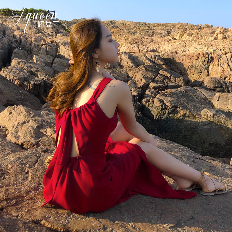 宝姿连衣裙 沙滩裙海边拍照度假女夏季超仙的长裙性感露背裙子红色吊带连衣裙_推荐淘宝好看的ports 连衣裙