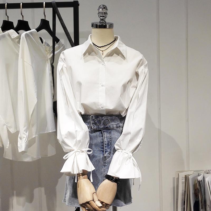 学院风衬衫 白衬衫女长袖2020秋装新款韩范学院风系带喇叭袖衬衣学生上衣D161_推荐淘宝好看的女学院风衬衫
