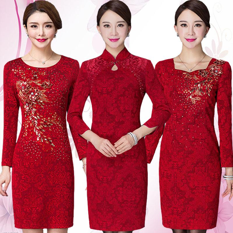 红色连衣裙 高贵婚礼妈妈装连衣裙秋装大码修身喜庆婆婆红色结婚宴旗袍礼服_推荐淘宝好看的红色连衣裙