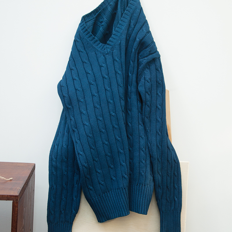 男士纯棉针织衫 纯手工蓝染男士纯棉针织衫复古毛衣植物染毛衣_推荐淘宝好看的男纯棉针织衫