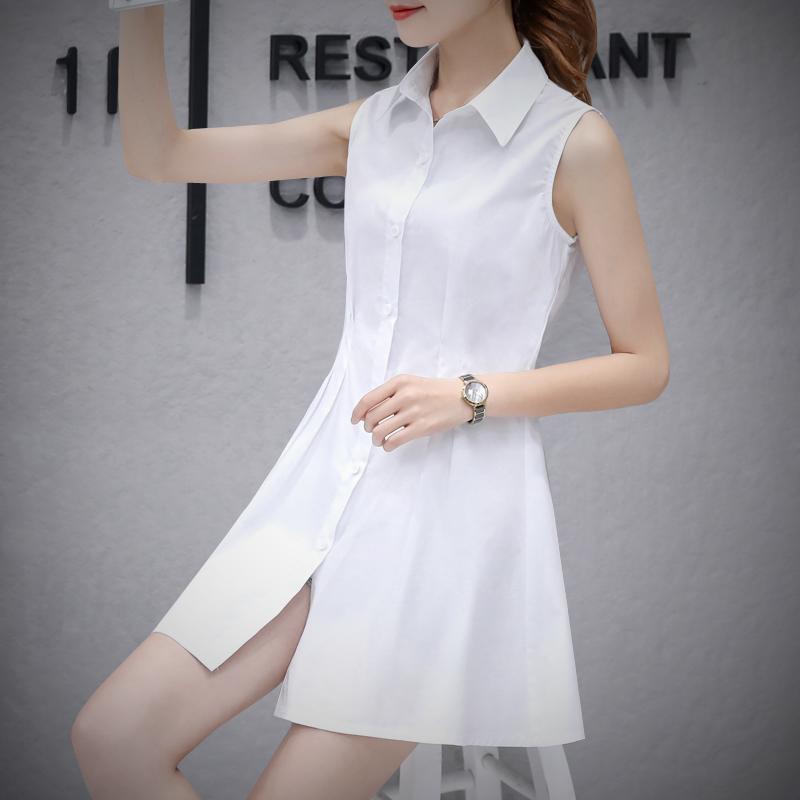 白衬衫 春秋白色内搭无袖衬衫裙韩版修身中长款上衣大码纯棉衬衣打底衫女_推荐淘宝好看的女白衬衫