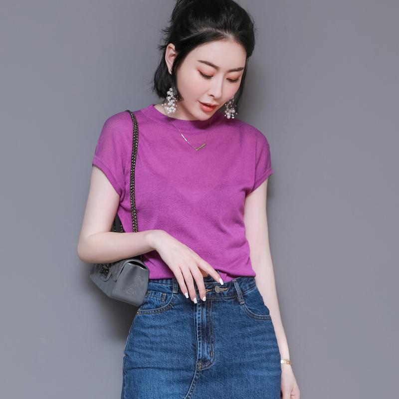 紫色针织衫 紫色t恤 欧货冰丝打底针织衫女冰麻2020新款短袖修身韩范百搭简约_推荐淘宝好看的紫色针织衫