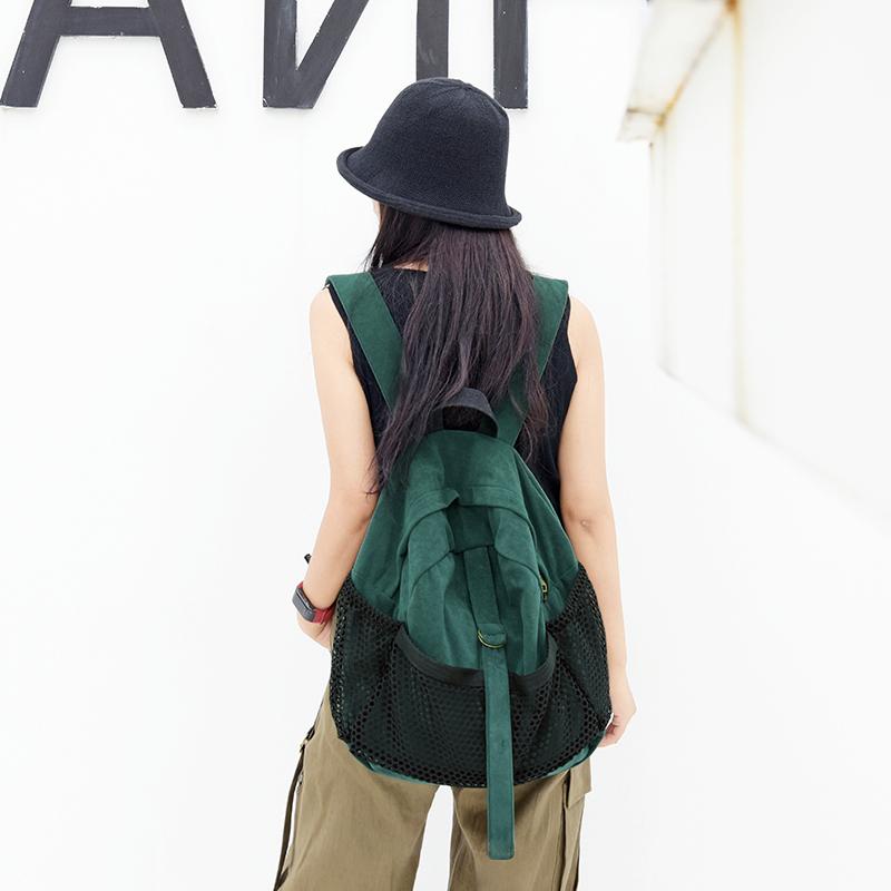 绿色双肩包 澄心女子原创复古时尚墨绿色双肩包女2020年新款旅游休闲旅行背包_推荐淘宝好看的绿色双肩包