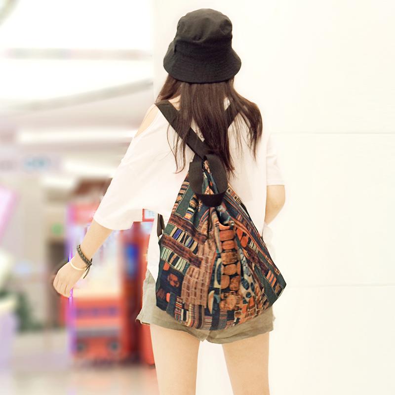 旅游双肩包 澄心女子时尚复古印花超轻双肩包女大容量旅游休闲两用背包单肩包_推荐淘宝好看的女旅游双肩包