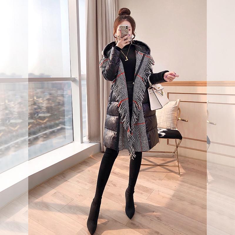 黑色羽绒服 外套黑色收腰秋冬2021年新款女装冬季轻薄修身显瘦中长款羽绒服_推荐淘宝好看的黑色羽绒服