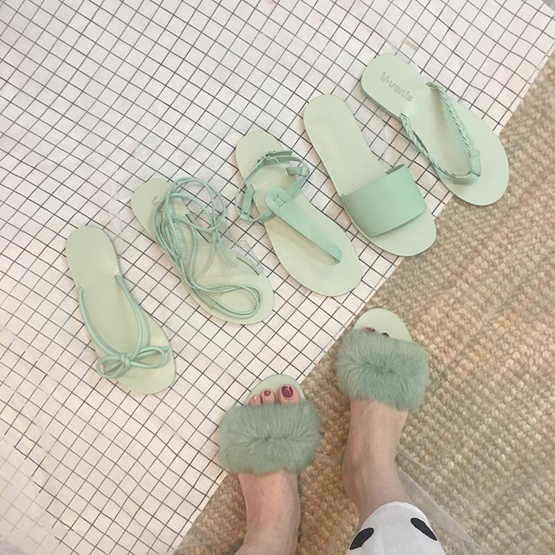 绿色凉鞋 女神 优雅温柔仙女蒂芙尼绿色系列罗马凉鞋休闲拖鞋外穿度假防滑_推荐淘宝好看的绿色凉鞋