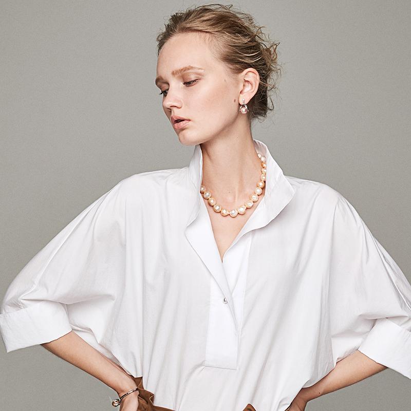 白色衬衫 小虫立领白色衬衫女士2019新款夏季休闲百搭V领宽松上衣短袖_推荐淘宝好看的白色衬衫