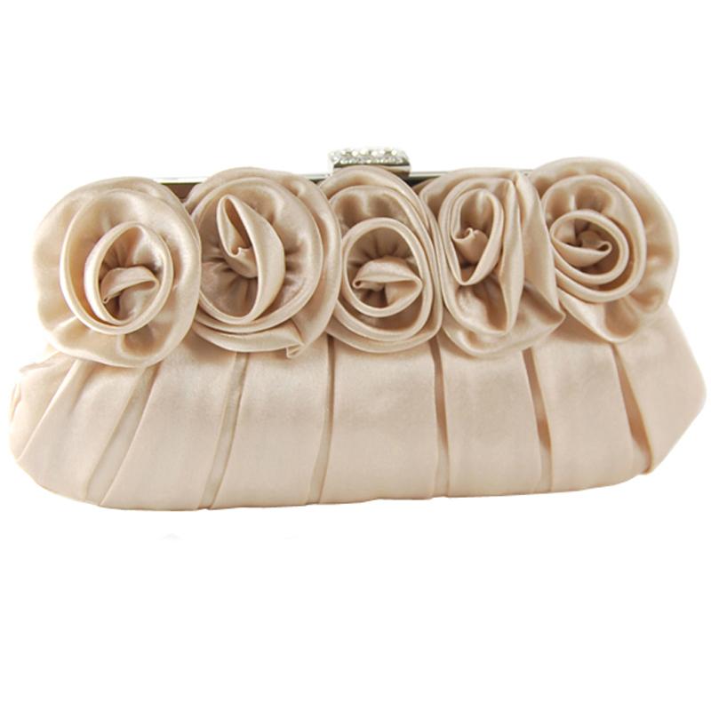 粉红色手拿包 玫瑰花朵绸面手包粉红色新娘包包结婚包婚礼晚宴包手拿包淑女包_推荐淘宝好看的粉红色手拿包