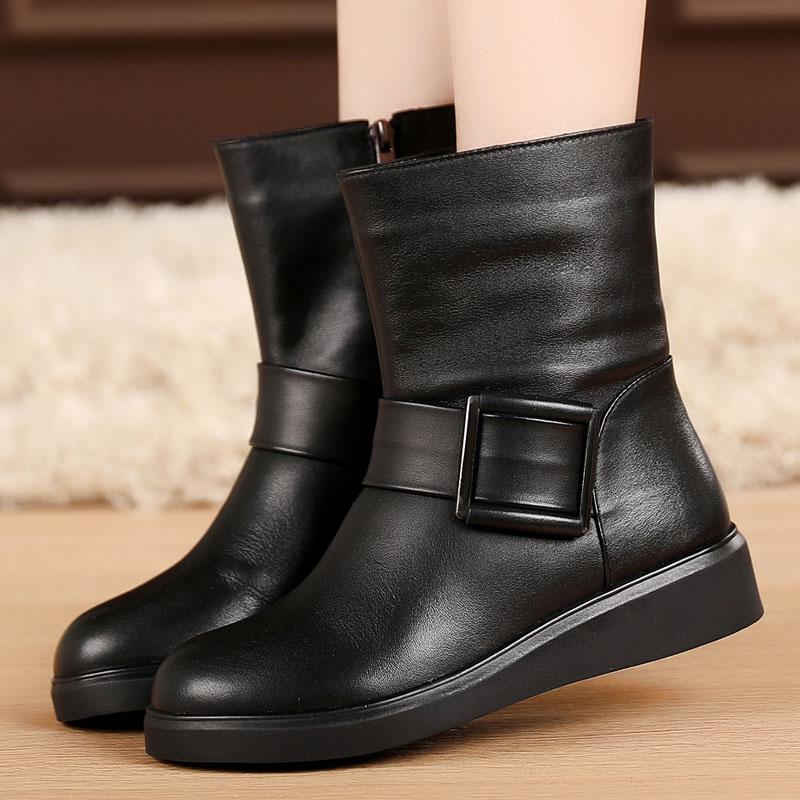 真皮平底鞋 秋冬季女鞋平跟短靴女加绒棉靴马丁靴潮英伦风真皮靴子平底鞋棉鞋_推荐淘宝好看的女真皮平底鞋