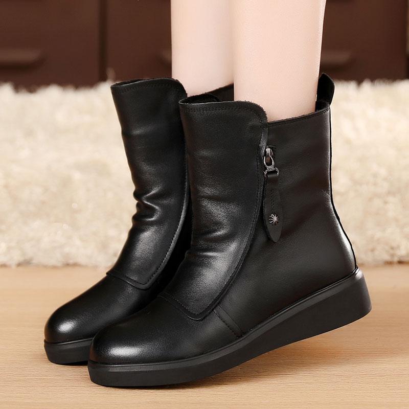 圆头短靴 冬季女靴平跟短靴女真皮加绒棉鞋棉靴马丁靴女英伦风真皮靴子圆头_推荐淘宝好看的女圆头短靴