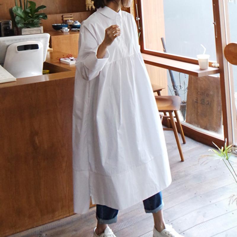 白色连衣裙 连衣裙女春秋新款韩版宽松显瘦休闲大码娃娃装裙长袖白色衬衫长裙_推荐淘宝好看的白色连衣裙
