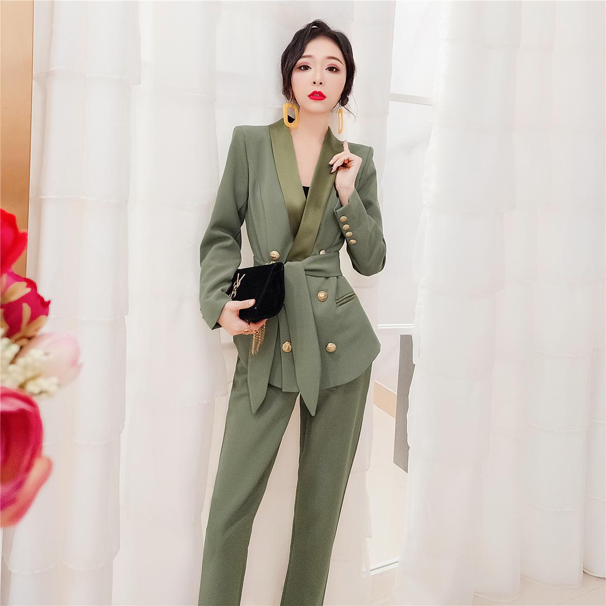 套装 韩衣女王西装套装女韩版2021新款秋装时尚职业套装洋气两件套气质_推荐淘宝好看的套装