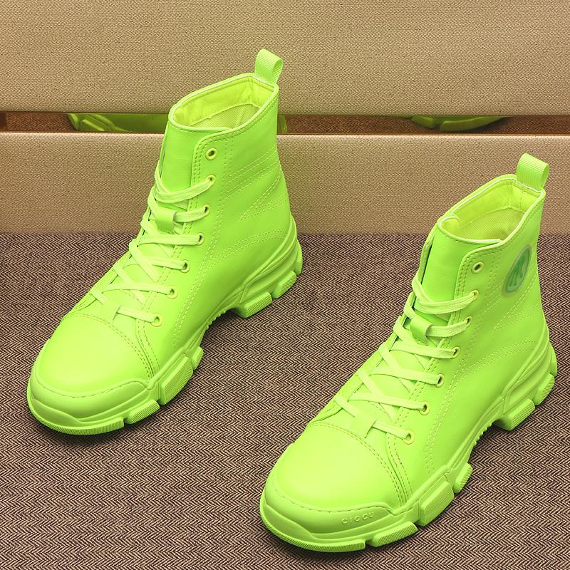 绿色高帮鞋 马丁靴男2021春秋新款绿色高帮鞋韩版鞋子板鞋潮流厚底内增高短靴_推荐淘宝好看的绿色高帮鞋