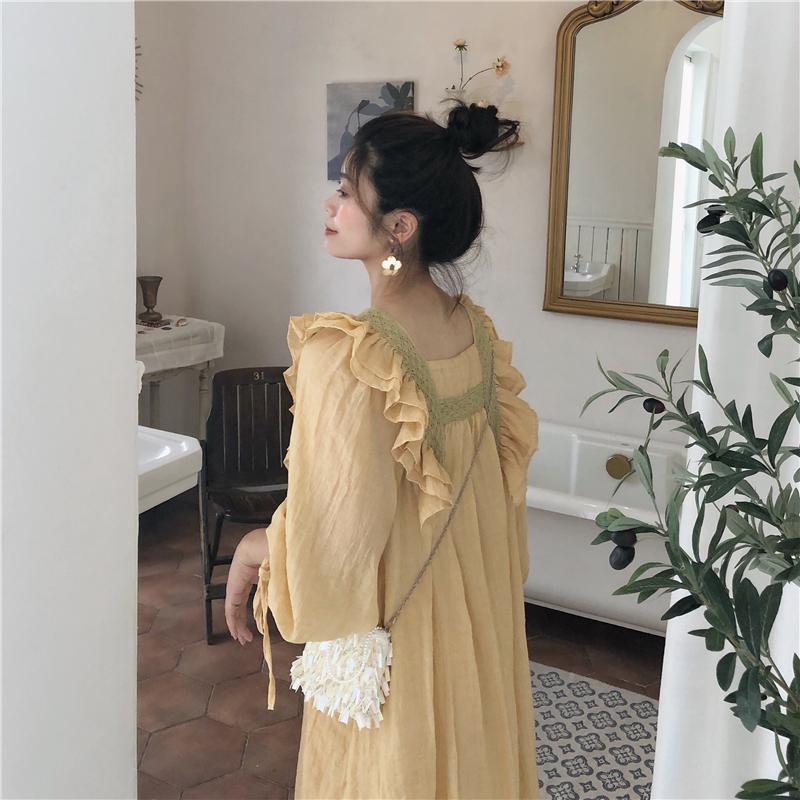 黄色连衣裙 PinkstarShop连衣裙法式少女风女裙姜黄色蕾丝花边棉麻宽松长裙_推荐淘宝好看的黄色连衣裙