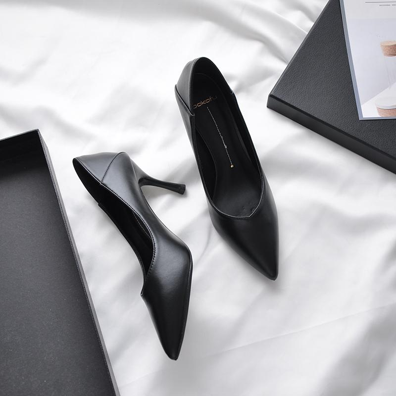 黑色单鞋 V口软皮女不磨脚黑色高跟鞋女细跟尖头7cm哑光职业单鞋工作鞋5cm_推荐淘宝好看的黑色单鞋