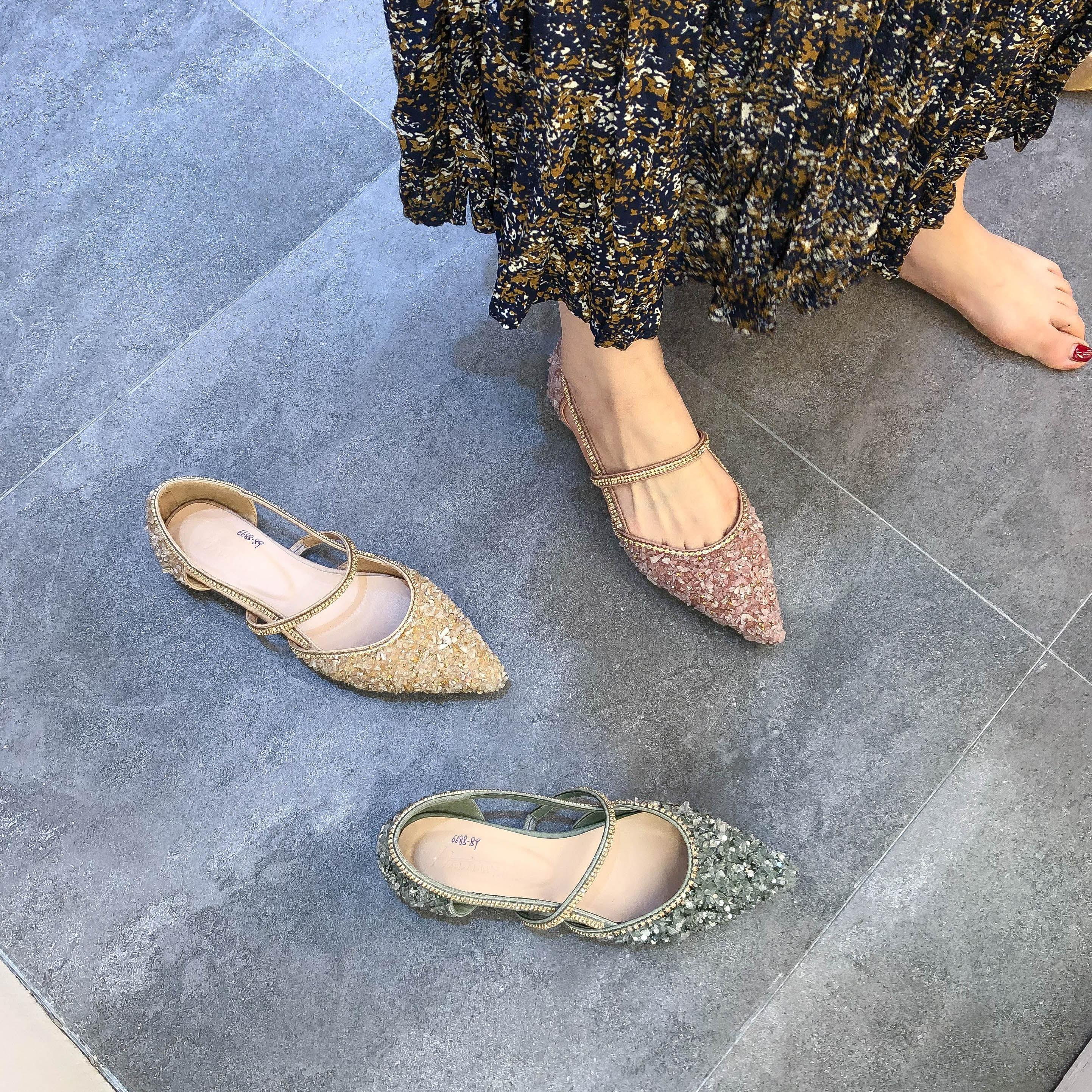 粉红色凉鞋 夏季新款- 尖头中空凉鞋平底亮水钻百搭女甜美低跟粉红色浅口单鞋_推荐淘宝好看的粉红色凉鞋