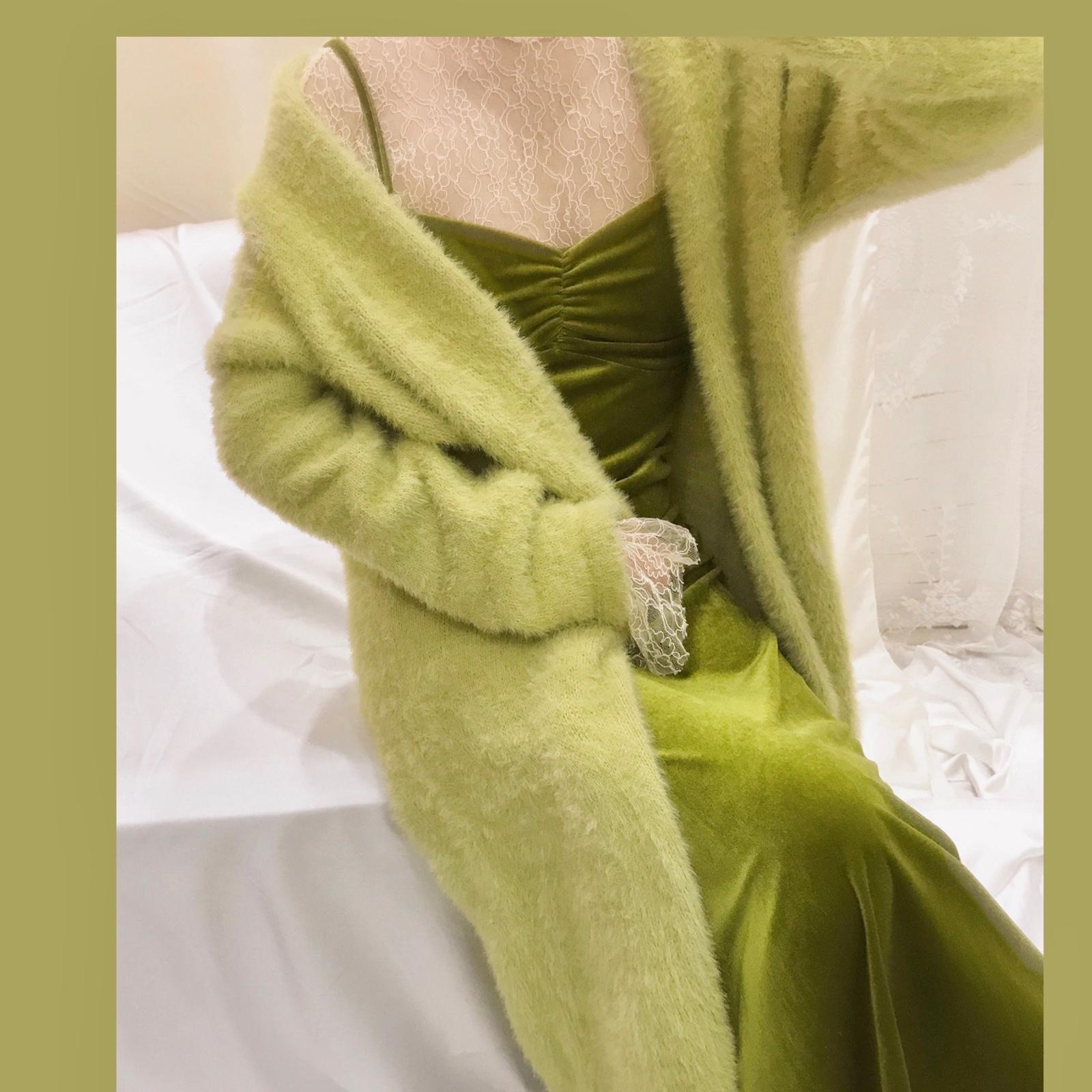 绿色针织衫 晚时光秋冬复古显白慵懒绿色仿貂毛针织外套 针织开衫中长款_推荐淘宝好看的绿色针织衫
