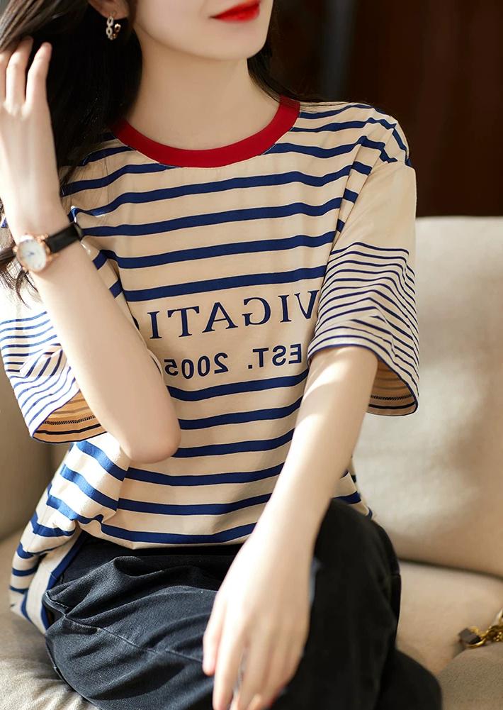 条纹t恤搭配 青春减龄海军风 字母印花短袖纯棉条纹T恤女_推荐淘宝好看的女条纹t恤
