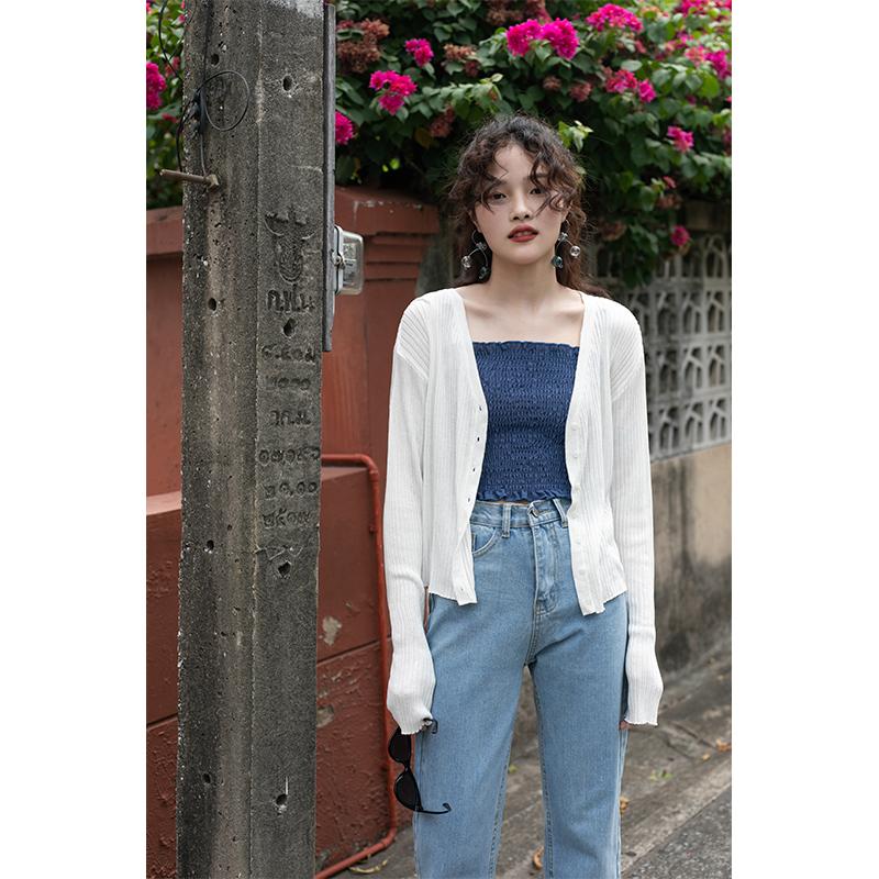 以纯针织衫 觅定防晒冰丝针织开衫女薄款夏季外套上衣罩衫长袖空调衫白色短款_推荐淘宝好看的以纯针织衫女
