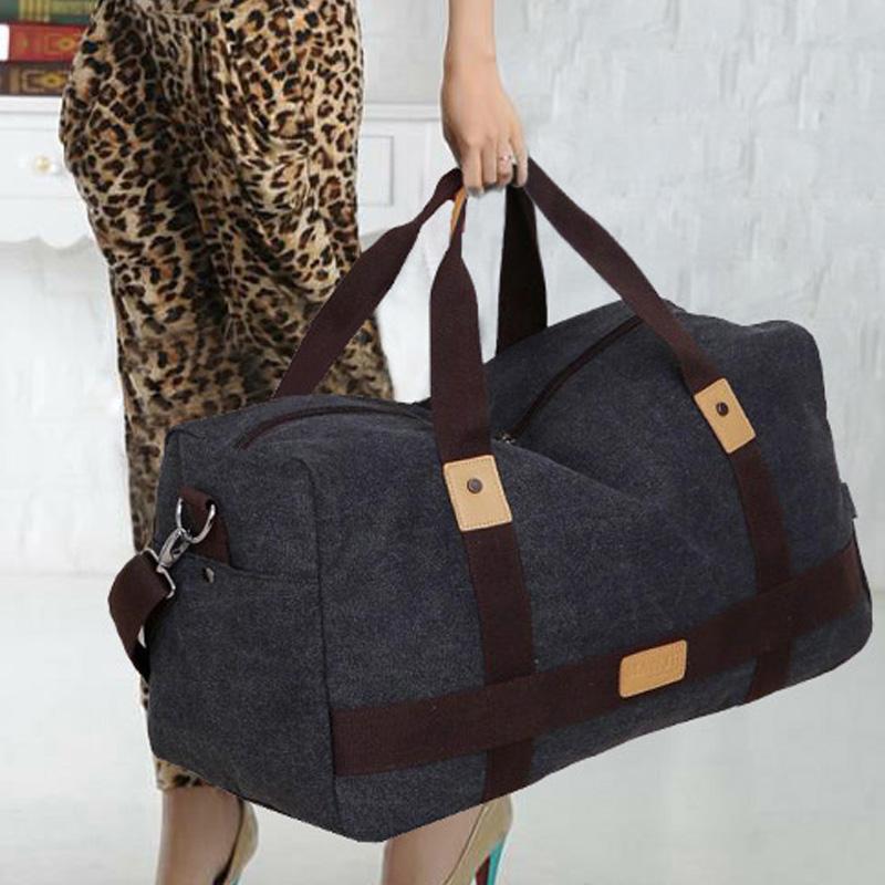 旅行帆布包 超大容量帆布手提旅行包男士旅行袋搬家行李包女斜跨出差旅游大包_推荐淘宝好看的女旅行帆布包