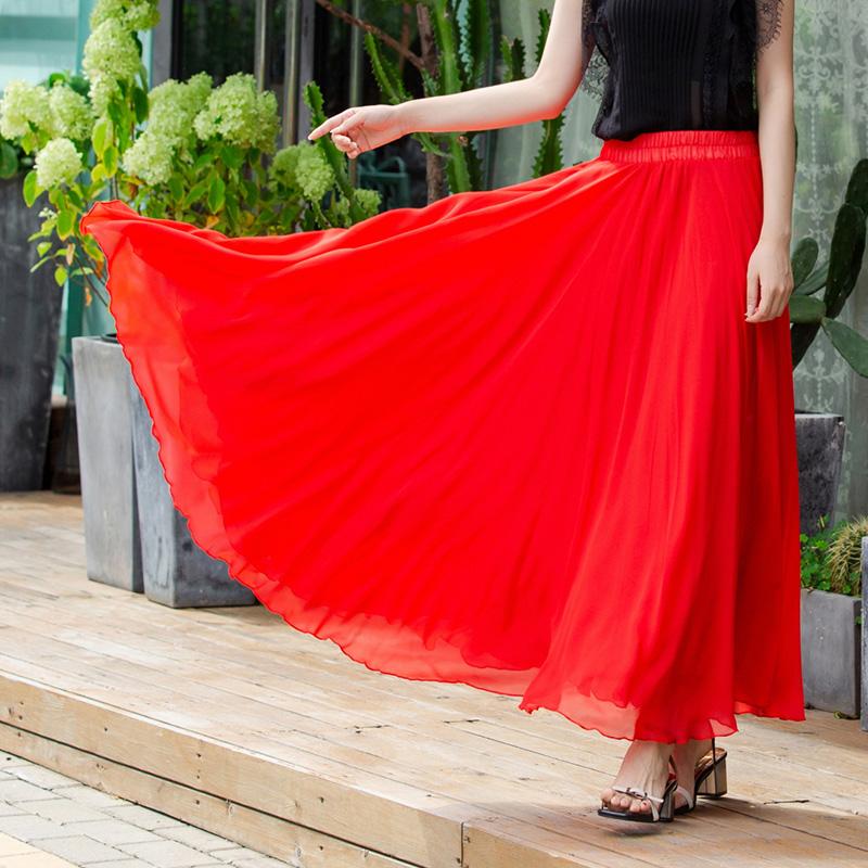 红色半身裙 三层雪纺大摆半身长裙超仙气拖地沙滩裙新疆舞裙大红色半身裙_推荐淘宝好看的红色半身裙