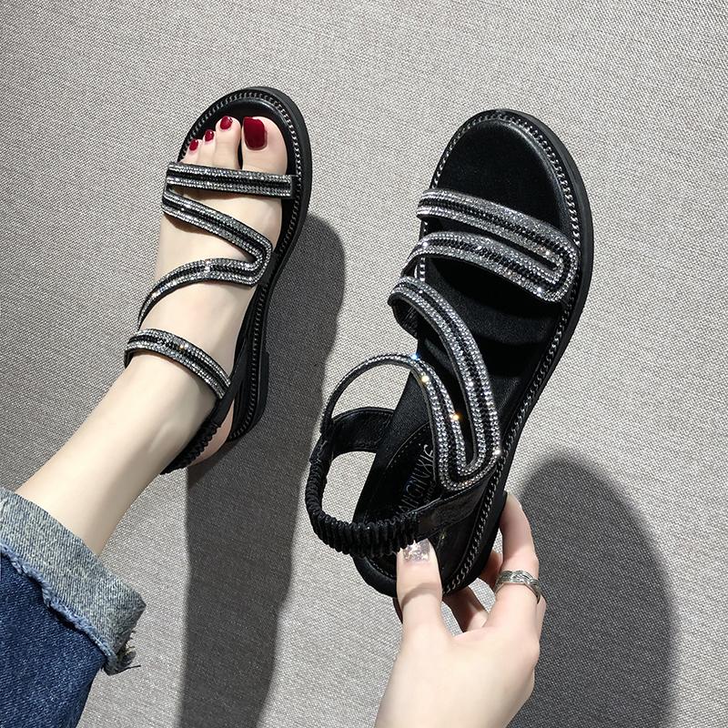 罗马鞋 2020夏季新款女仙女风平底学生百搭水钻罗马凉鞋沙滩坡跟时尚女鞋_推荐淘宝好看的女罗马鞋