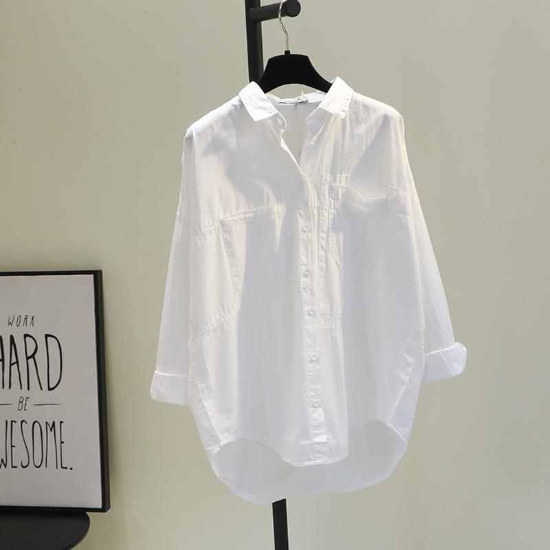 白色衬衫 双口袋前短后长白色棉衬衫女2021春韩版宽松文艺bf风休闲衬衣潮_推荐淘宝好看的白色衬衫