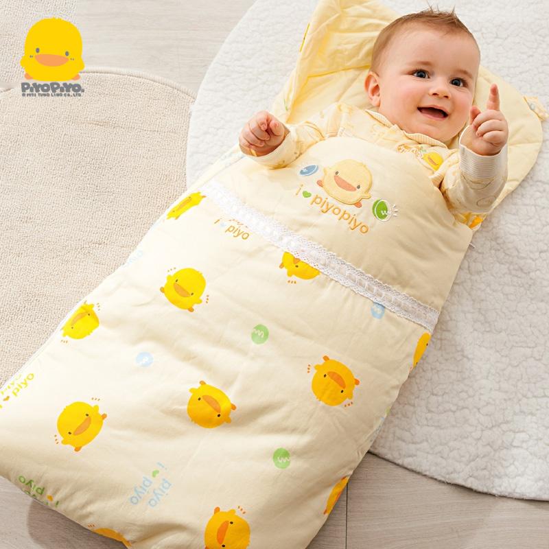 黄色信封包 黄色小鸭新生儿超厚款抱被婴儿冬纯绵宝宝信封式睡袋多功能包婴被_推荐淘宝好看的黄色信封包