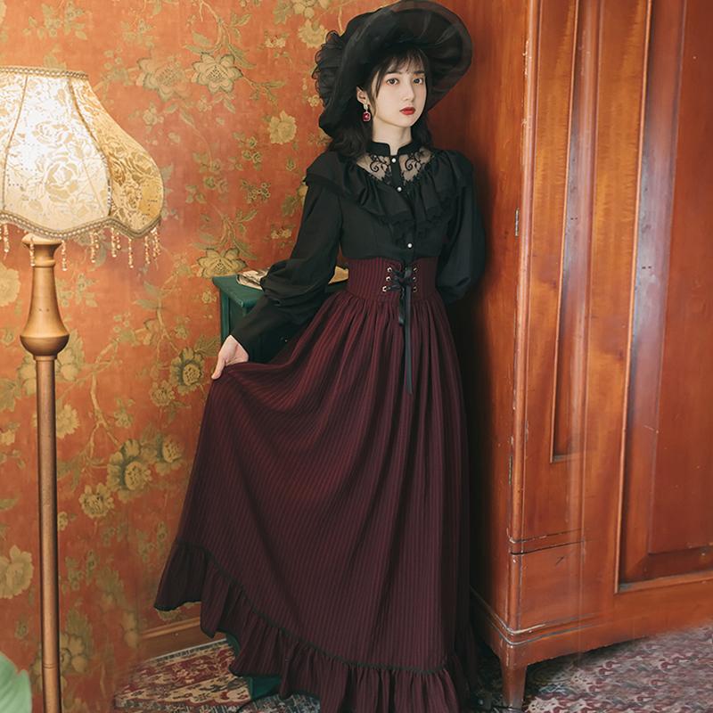法式衬衫 法式复古哥特宫廷暗黑衬衫+半身裙洋装连衣裙洛丽塔日常轻lo女装_推荐淘宝好看的女法 衬衫