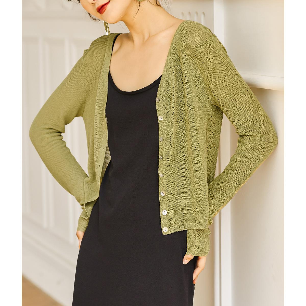 绿色针织衫 弥古绿色防晒衫针织开衫女夏薄款黑色设计感外套长袖上衣短款外搭_推荐淘宝好看的绿色针织衫