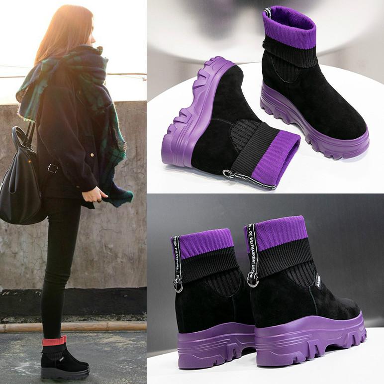 紫色松糕鞋 松糕厚底内增高7.5cm马丁女靴红色紫色女鞋秋单靴加绒棉靴袜子靴_推荐淘宝好看的紫色松糕鞋