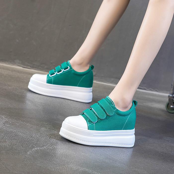 绿色松糕鞋 白色黑色绿色小码33女鞋中青年学生内增高8cm松糕帆布单鞋魔术贴_推荐淘宝好看的绿色松糕鞋