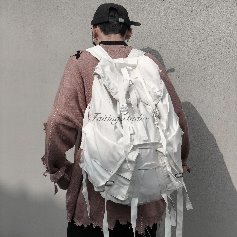 白色双肩包 Faiting studio 01户外多功能双肩包白色帆布飘带超大容量运动包_推荐淘宝好看的白色双肩包