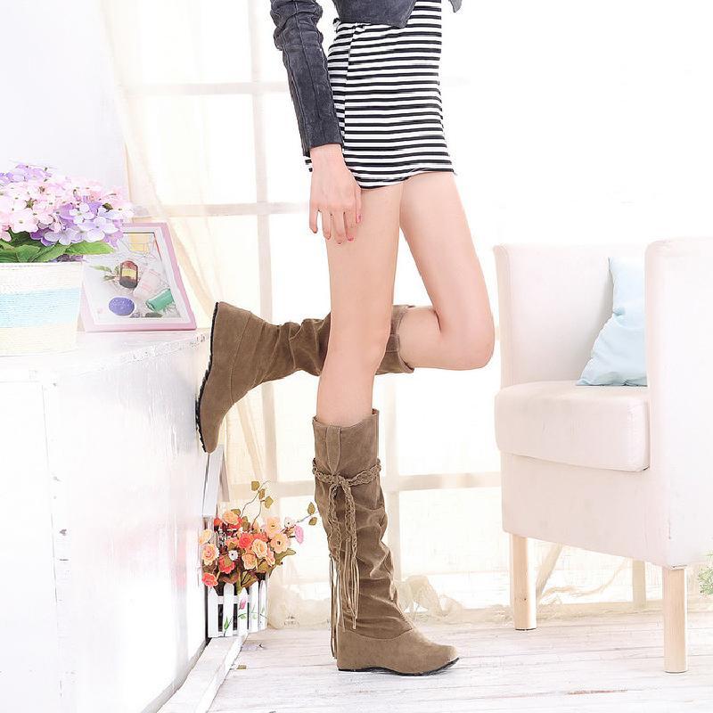 粉红色平底鞋 秋冬季新黑米棕黄粉红色韩版平底跟女士学生棉鞋流苏长款高筒靴子_推荐淘宝好看的粉红色平底鞋