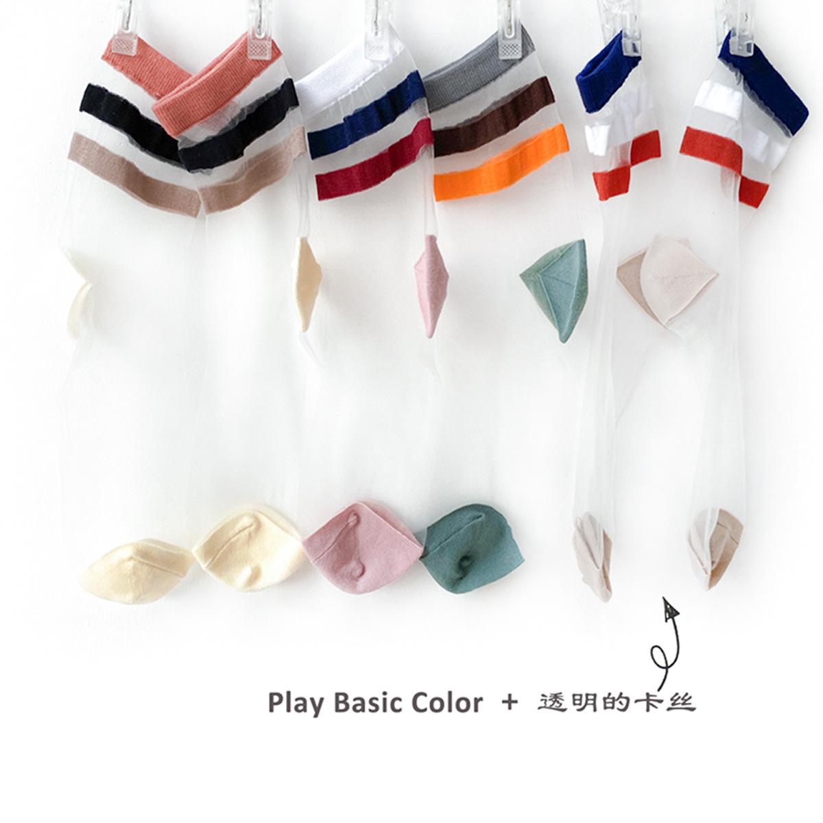 彩色透明丝袜 4双包邮 HENNY RUE 春夏卡丝袜彩色二杠透明超薄短袜学院风女袜子_推荐淘宝好看的彩色透明丝袜