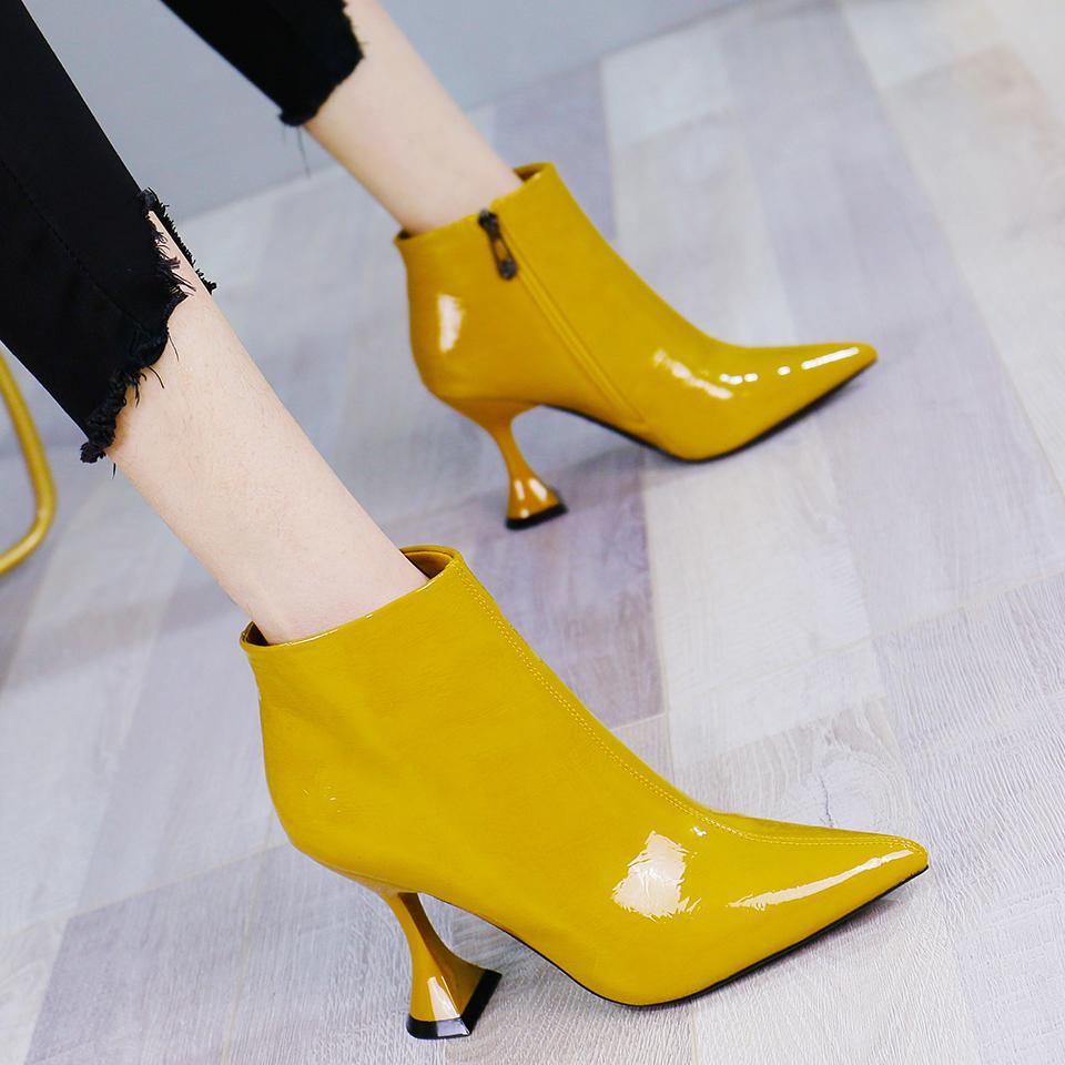 黄色高跟鞋 黄色漆皮时尚百搭尖头细跟高跟鞋女秋网红酒杯跟高跟靴短靴裸靴冬_推荐淘宝好看的黄色高跟鞋